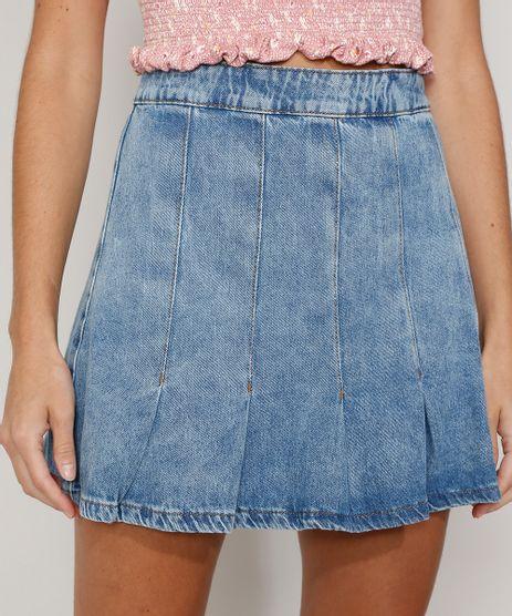 Saia-Jeans-Feminina-Curta-Marmorizada-com-Pregas-Azul-Medio-9982410-Azul_Medio_1