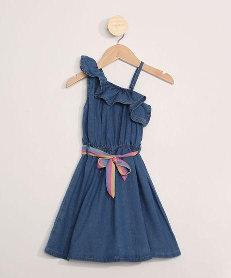 Vestido-Jeans-Infantil-Assimetrico-com-Babado-e-Faixa-Azul-Medio-9966815-Azul_Medio_1