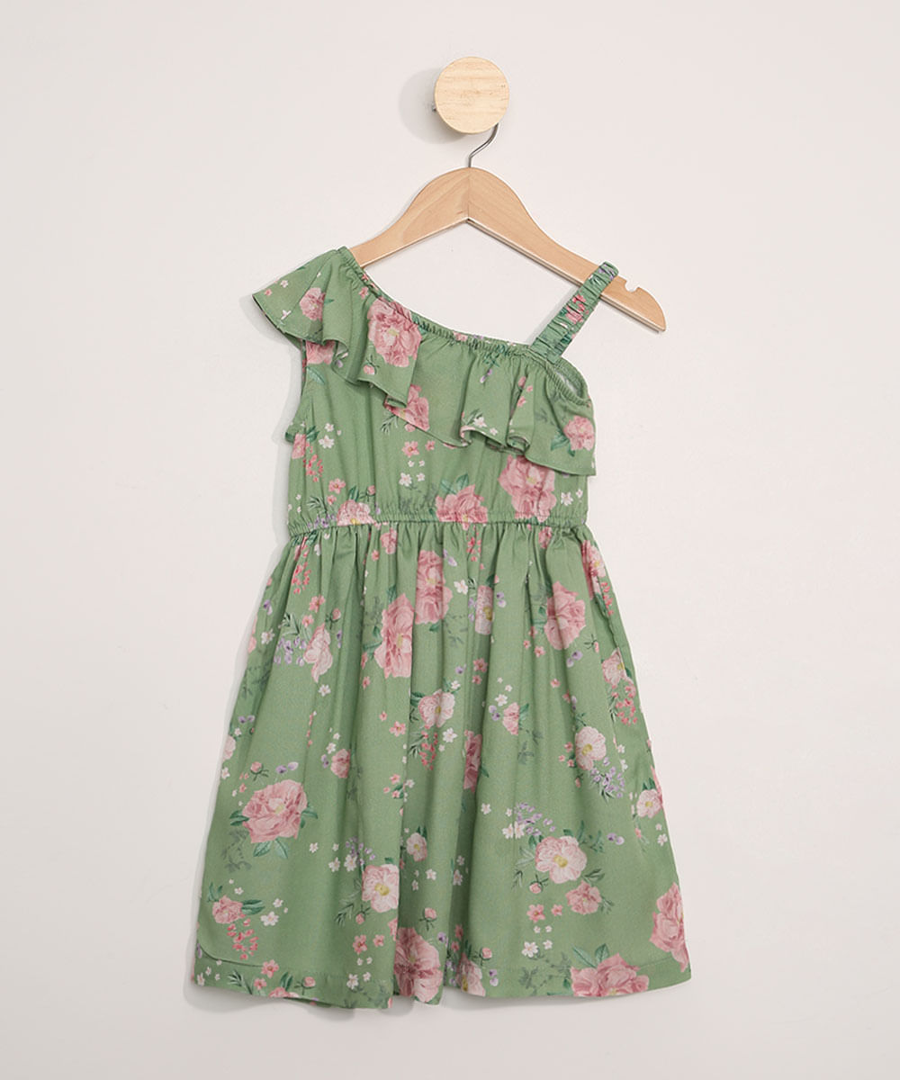 Vestido Infantil Estampado Floral Assimétrico com Babado Verde