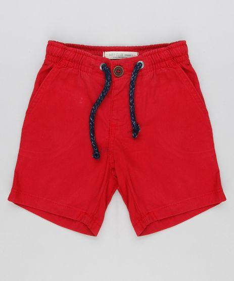 Bermuda-Infantil-Basica-com-Bolsos-em-Algodao---Sustentavel-Vermelha-8609261-Vermelho_1