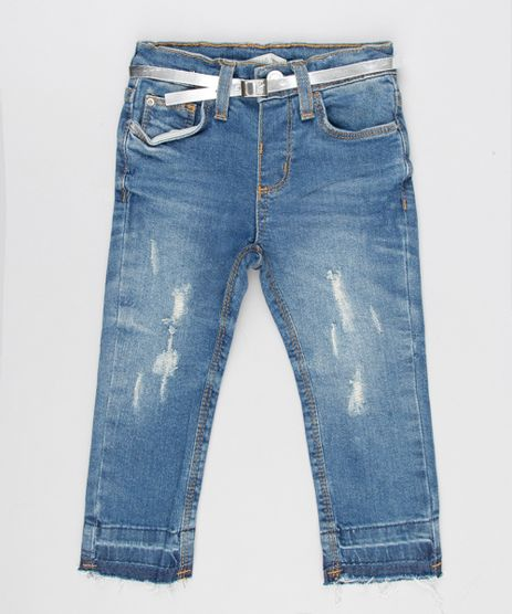 Calca-Jeans-Infantil-Barra-Desfiada-com-Cinto-Metalizado-Azul-Medio-9141720-Azul_Medio_1