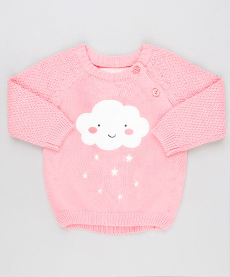 Sueter-Infantil-Nuvem-em-Trico-com-Botoes-Gola-Redonda-Manga-Longa-Rosa-8921809-Rosa_1