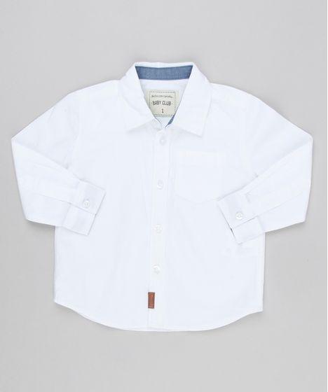 Camisa Infantil Básica Manga Longa com Bolso Branca - cea b68b683ee8ab5
