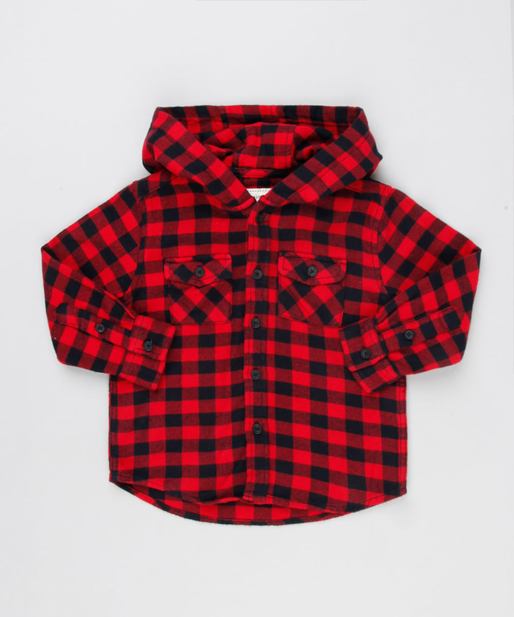 c66276fba Camisa Infantil Xadrez em Flanela com Capuz Manga Longa Vermelha - cea