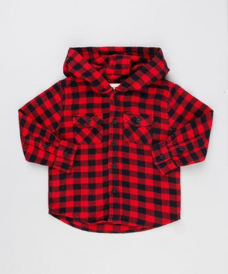 Camisa-Infantil-Xadrez-em-Flanela-com-Capuz-Manga-Longa-Vermelha-8853428-Vermelho_1