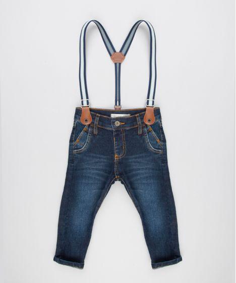 Calça Jeans Infantil com Suspensório Listrado Azul Escuro - cea 637fc77b675