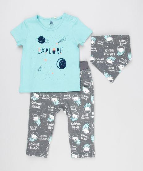 Conjunto-Infantil-de-Camiseta-Manga-Curta-Verde---Calca-Estampada-de-Ursos---Babador-em-Algodao---Sustentavel-Chumbo-8908965-Chumbo_1