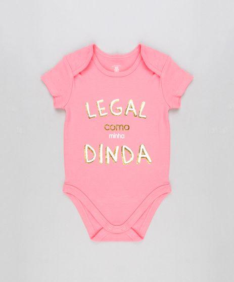Body-Infantil--Legal-Como-Minha-Dinda--Manga-Curta-Decote-Redondo-em-Algodao---Sustentavel-Rosa-8915718-Rosa_1
