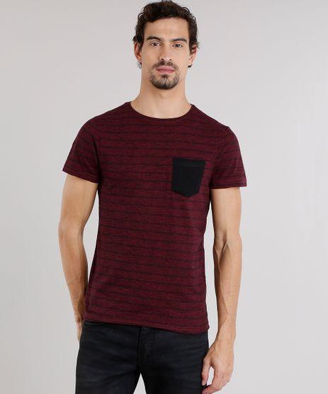 Camiseta-Masculina-Mescla-Listrada-com-Bolso-Manga-Curta-Gola-Careca-Vinho-8709075-Vinho_1