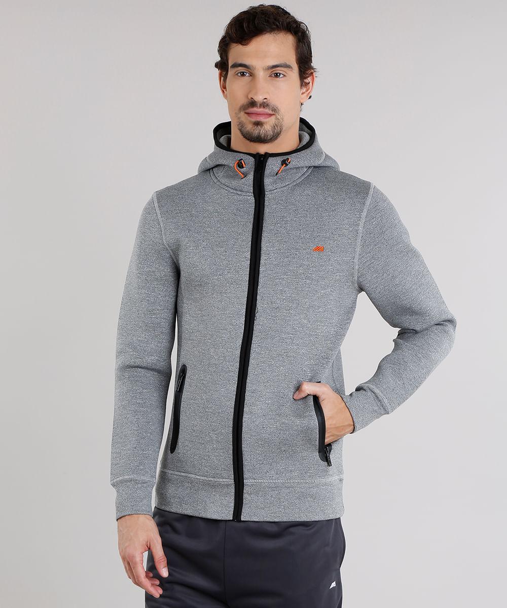 f90731da68 Blusão Masculino Esportivo Ace em Moletom Gola Alta com Capuz Cinza Mescla  Escuro