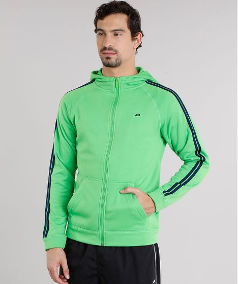 7c4c54d943 Blusão Masculino Esportivo Ace em Moletom com Listras Laterais Verde ...