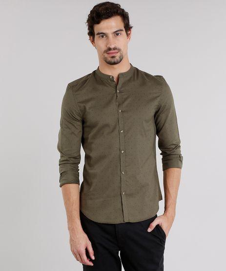 Camisa-Masculina-Slim-Estampada-com-Gola-Padre-Manga-Longa-Verde-Militar-8908876-Verde_Militar_1