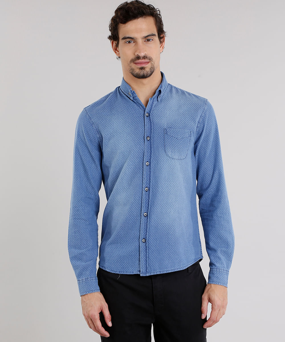 854758f02c Camisa Jeans Masculina Comfort Estampada Manga Longa Azul Médio - cea