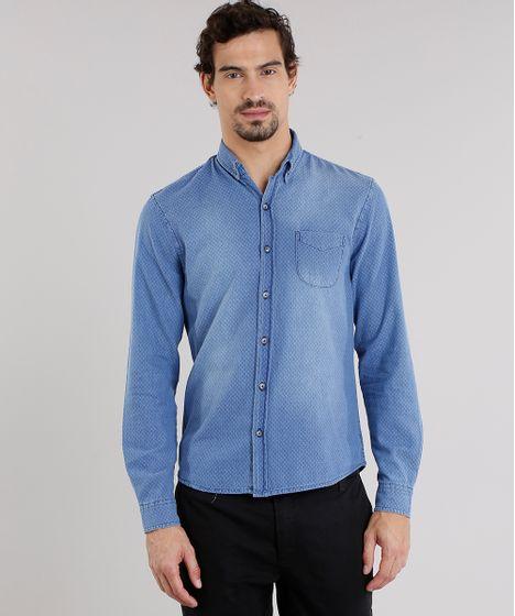 Camisa Jeans Masculina Comfort Estampada Manga Longa Azul Médio - cea 7bcd3bc89a8