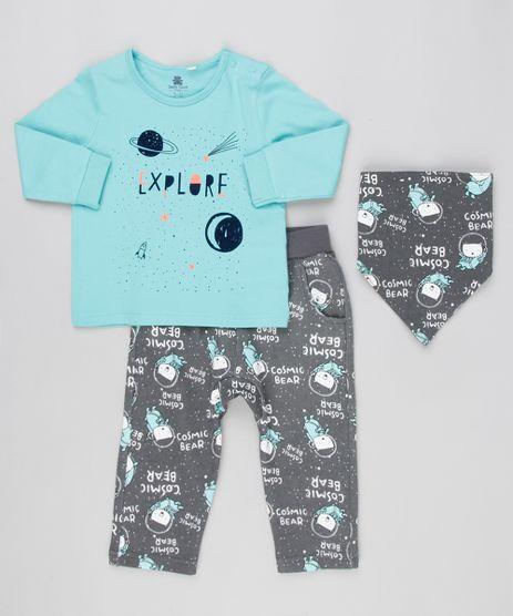 Conjunto-Infantil-de-Camiseta-Manga-Longa-Verde---Calca-Estampada-de-Ursos---Babador-em-Algodao---Sustentavel-Chumbo-8908985-Chumbo_1