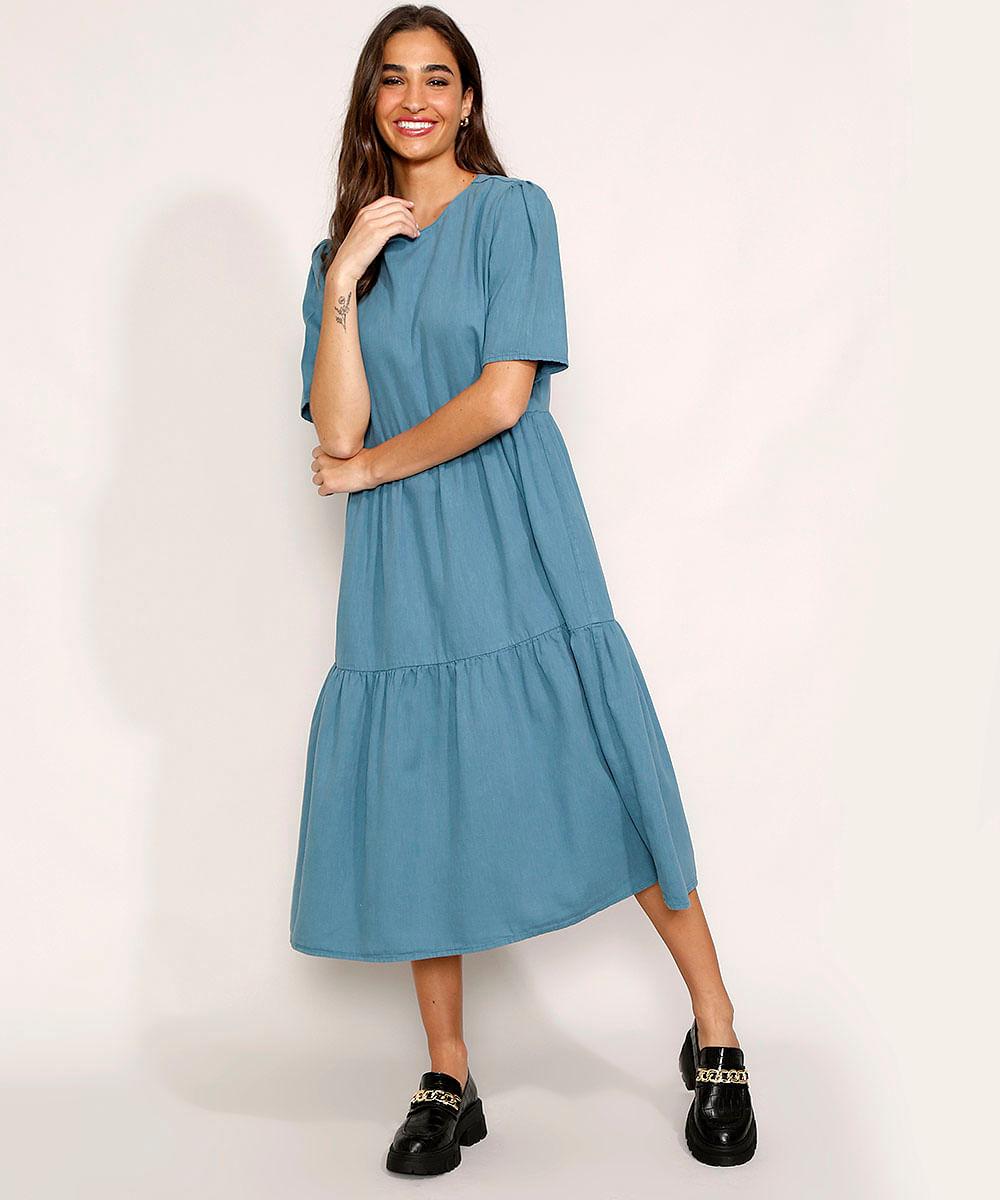 Vestido Feminino Mindset Midi com Recortes Manga Curta Azul