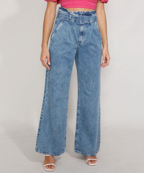Calca-Jeans-Feminina-Pantalona-Wide-Clochard-Cintura-Super-Alta-Marmorizada-com-Cinto-Azul-Medio-9983886-Azul_Medio_1