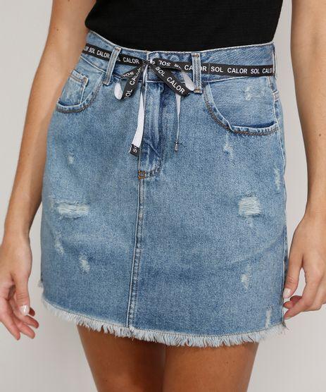 Saia-Jeans-Feminina-Curta-Destroyed-com-Cinto-Cadarco-Azul-Medio-9983319-Azul_Medio_1