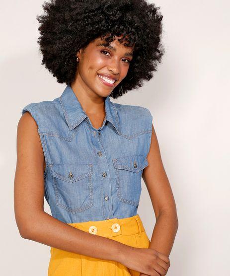 Camisa-Jeans-Feminina-Cropped-Muscle-Shirt-com-Ombreiras-e-Bolsos-Azul-Medio-9982489-Azul_Medio_1