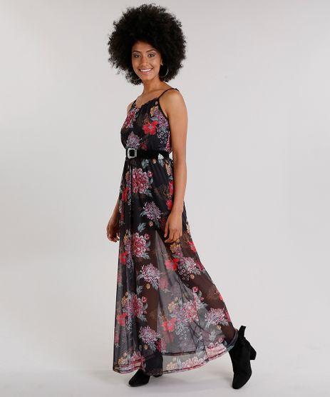 Vestido-Feminino-Longo-Estampado-Floral-em-Tule-de-Alca-Fina-Preto-9132099-Preto_1