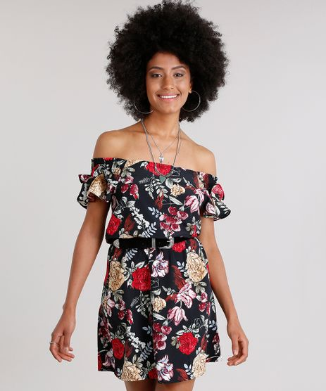 Vestido-Feminino-Ciganinha-Estampado-Floral-com-Babados-Curto-Preto-8889095-Preto_1
