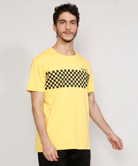 Camiseta-Masculina-Manga-Curta--Wild-Motors--com-Quadriculado-Gola-Careca-Amarela-9981273-Amarelo_1