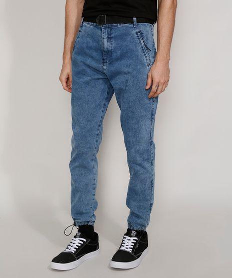 Calca-Jeans-Masculina-Jogger-Slim-Marmorizada-com-Cinto-e-Bolso-de-Ziper-Azul-Medio-9981200-Azul_Medio_1