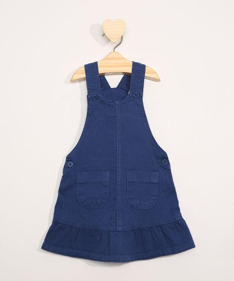 Salopete-de-Sarja-Infantil-com-Bolsos-e-Babados-Azul-Marinho-9978683-Azul_Marinho_1