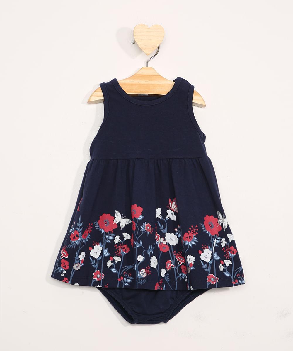 Vestido Infantil Floral Sem Manga + Calcinha Azul Marinho