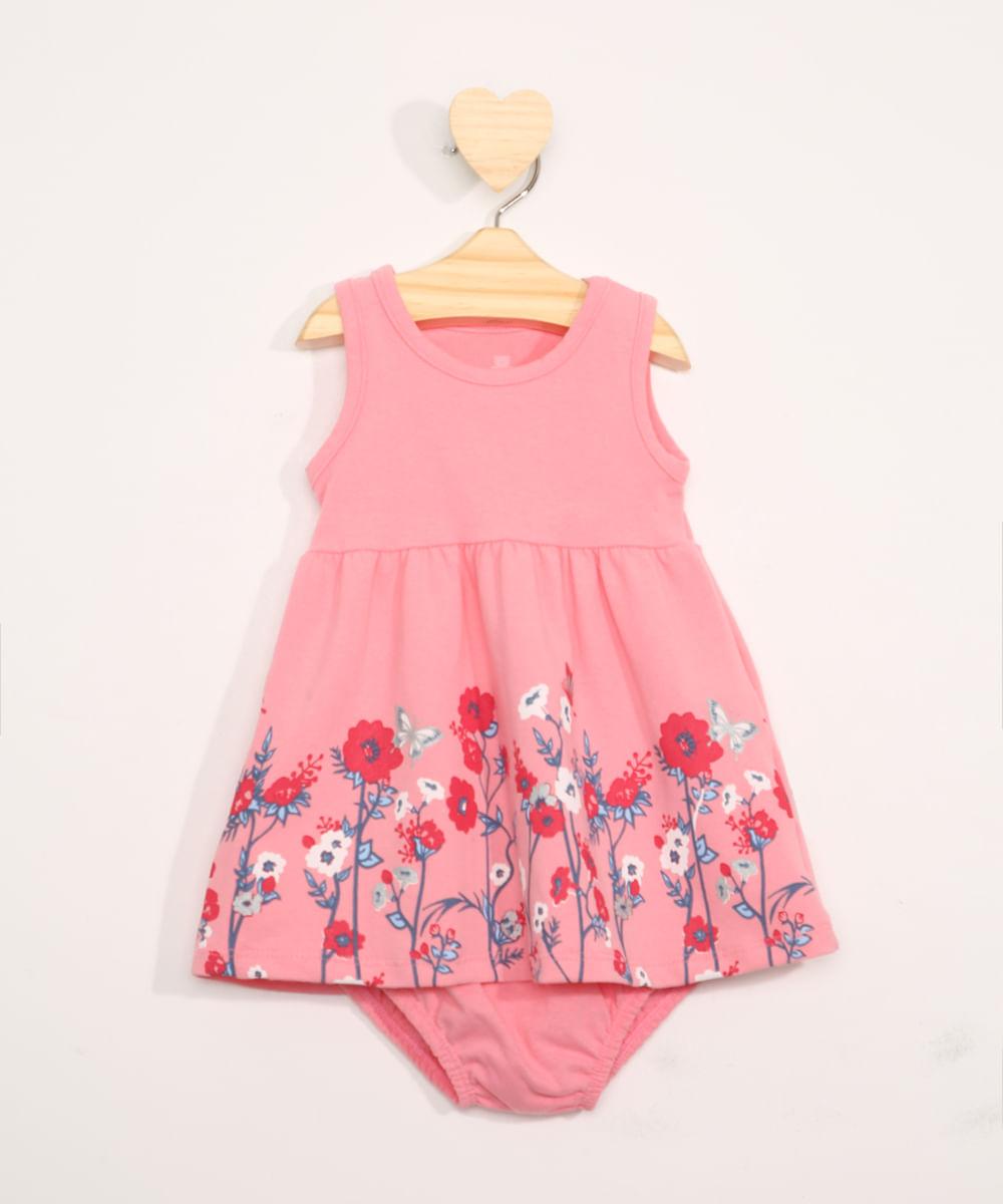 Vestido Infantil Floral Sem Manga + Calcinha Rosa