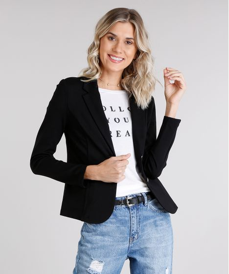 e2de62e337 Blazer feminino acinturado com botões trabalhados preto cea jpg 468x560 Blazer  preto feminino