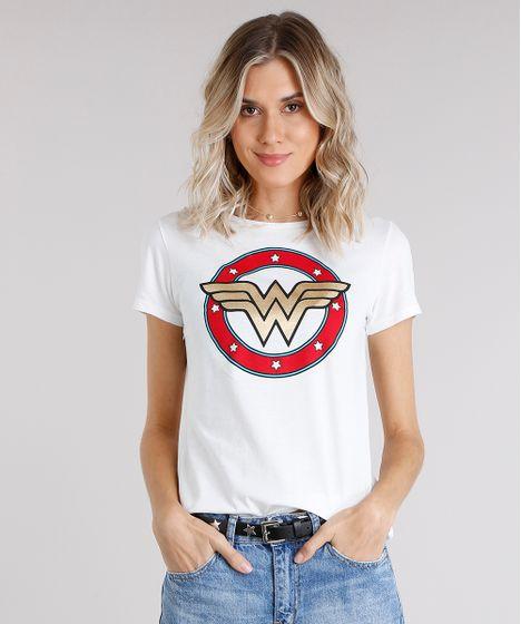 Blusa Feminina Mulher Maravilha Manga Curta Decote Redondo Off White ... 85d88b579a414