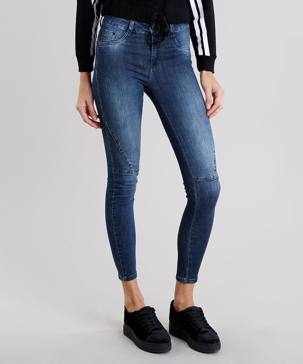 7b203c0fe Calça Jeans Feminina Super Skinny Sawary com Ilhós Azul Escuro ...