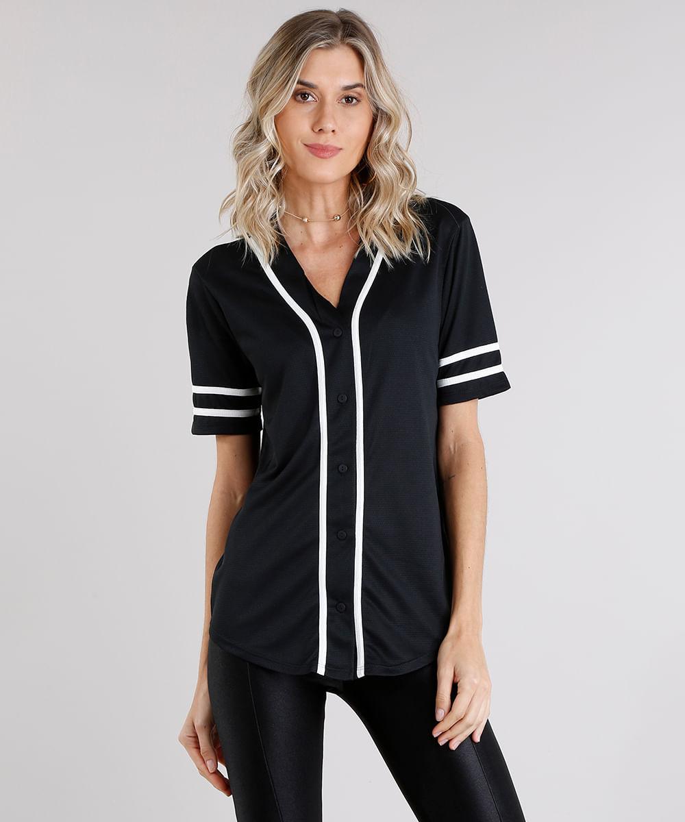 b55d92708 Camisa Feminina Esportiva com Vivo Contrastante Manga Curta Decote V ...