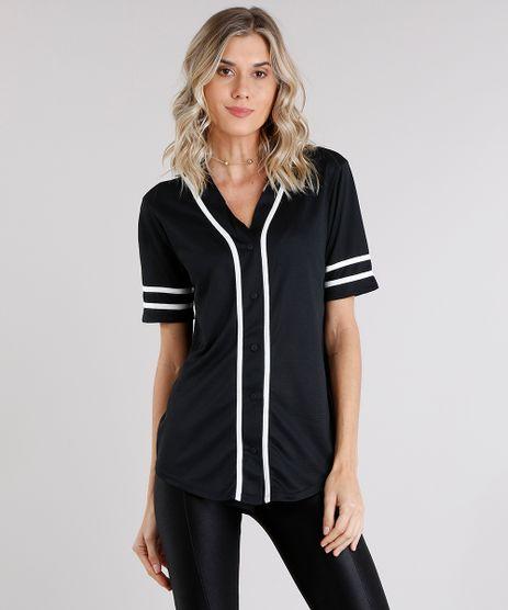 Camisa-Feminina-Esportiva-com-Vivo-Contrastante-Manga-Curta-Decote-V-Preta-8845886-Preto_1