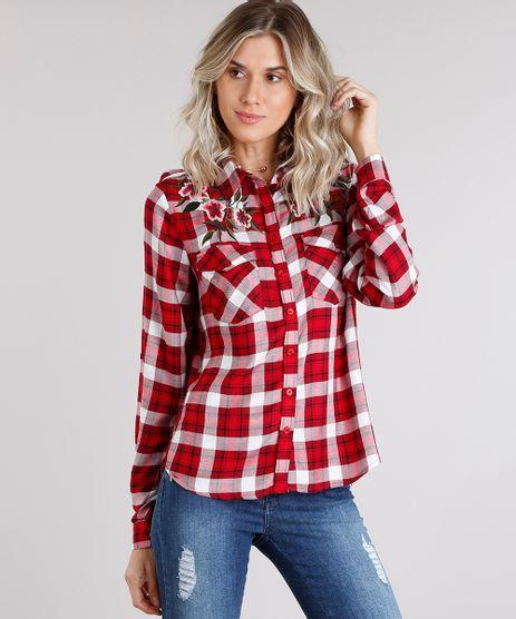Camisa-Feminina-Xadrez-com-Bordado-Floral-Manga-Longa-Vermelha-8915263-Vermelho_1