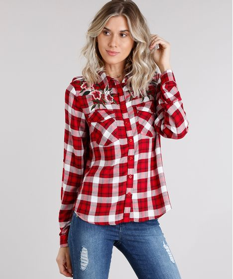 d5b2c6f3be Camisa Feminina Xadrez com Bordado Floral Manga Longa Vermelha - cea