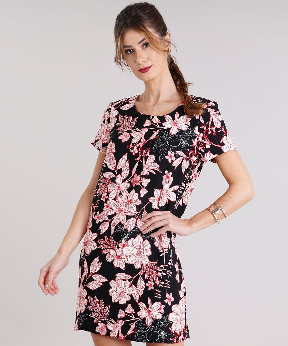 9b216fc52 Vestido Feminino Estampado Floral Curto Manga Curta Preto - cea