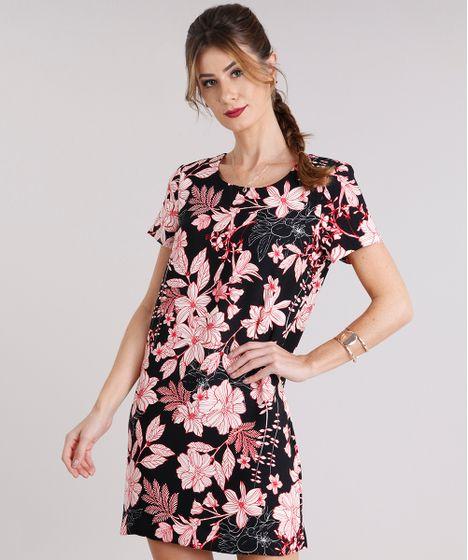 3593120ba616b2 Vestido Feminino Estampado Floral Curto Manga Curta Preto - cea