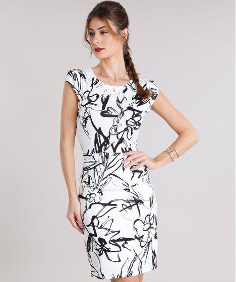 2cd1b757cc Vestido Feminino Estampado Floral Curto Manga Curta Off White - cea
