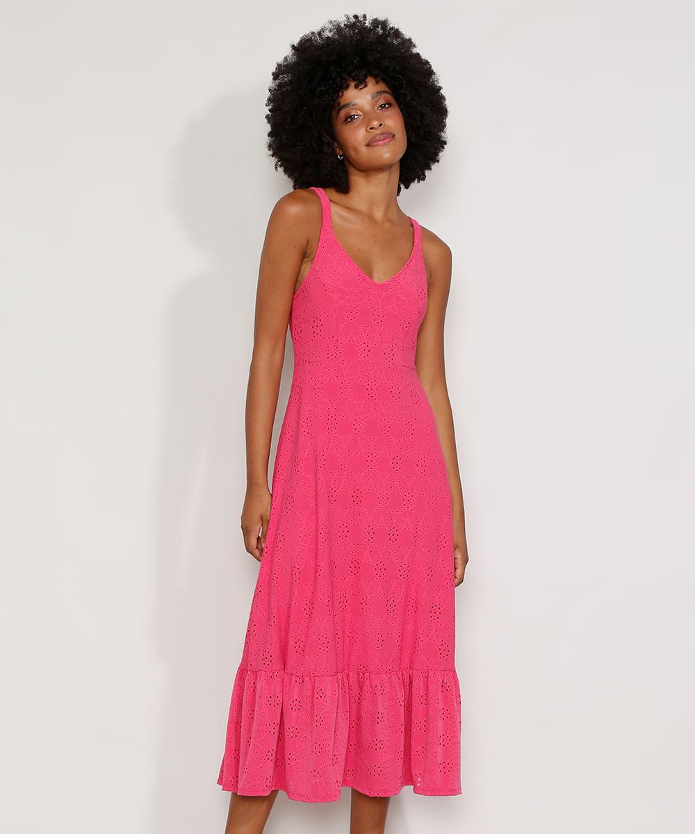 Vestido de Laise Feminino com Babado Alça Média Pink