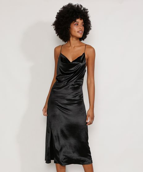 Vestido-de-Veludo-Feminino-Slip-Dress-Midi-com-Fenda-Alca-Fina-Preto-9987760-Preto_1