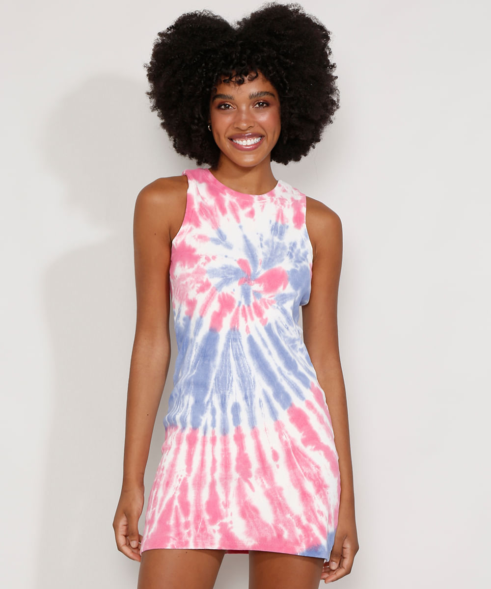 Vestido Feminino Curto Canelado Estampado Tie Dye Sem Manga Multicor