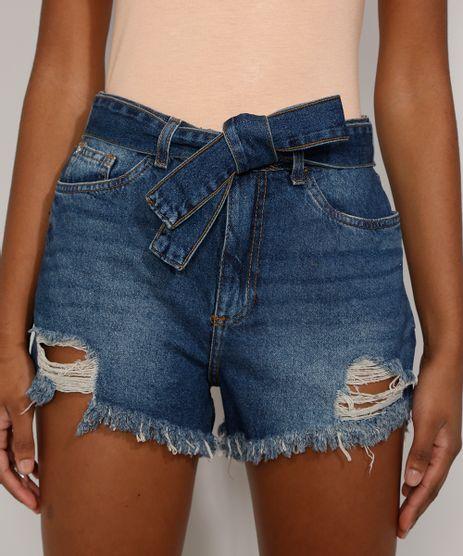Short-Jeans-Feminino-Cintura-Alta-Destroyed-com-Faixa-para-Amarrar-Azul-Escuro-9985383-Azul_Escuro_1