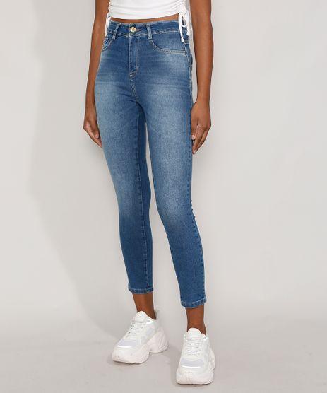 Calca-Jeans-Feminina-Cintura-Alta-Sawary-Cigarrete-Azul-Medio-9984356-Azul_Medio_1