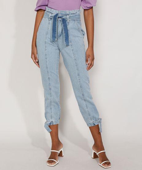 Calca-Jeans-Feminina-Jogger-Cintura-Super-Alta-com-Recortes-e-Faixa-para-Amarrar-Azul-Claro-9985957-Azul_Claro_1
