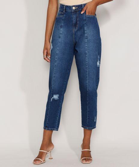 Calca-Jeans-Feminina-Cintura-Alta-Sawary-Baggy-com-Rasgos-e-Recortes-Azul-Escuro-9983851-Azul_Escuro_1