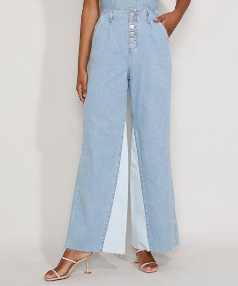 Calca-Jeans-Feminina-Pantalona-Wide-Cintura-Super-Alta-com-Botoes-e-Recorte-Azul-Claro-9982444-Azul_Claro_1