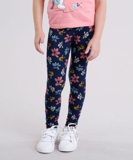 Calca-Legging-Infantil-Estampada-Floral-em-Algodao---Sustentavel-Azul-Marinho-9135816-Azul_Marinho_1