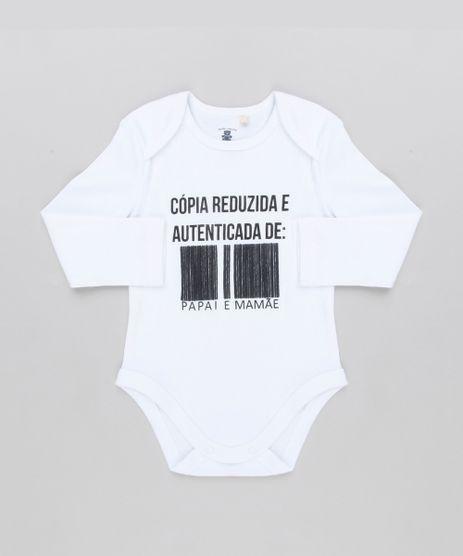Body-Infantil--Copia-Reduzida-e-Autenticada-de-Papai-e-Mamae--Manga-Longa-Decote-Redondo-em-Algodao---Sustentavel-Branco-8920456-Branco_1